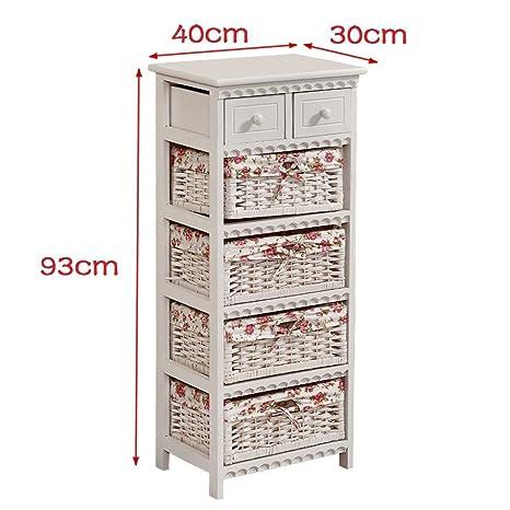 Cassettiera Vimini Per Bagno.Citysales Bianco Shabby Chic In Vimini Mobili Cassettiera Mobiletto