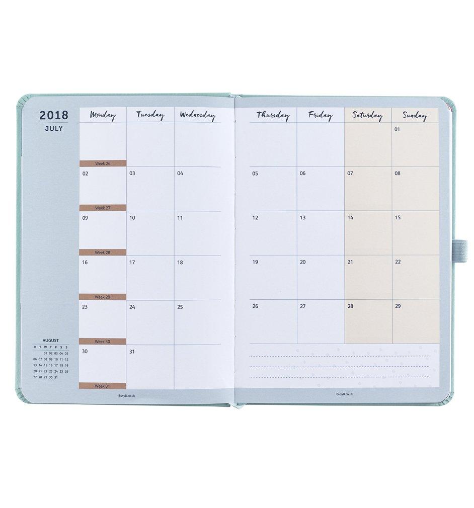Busy B - Perfecta agenda planificador 2018 con bolsillos, pegatinas y un mini bloc de notas