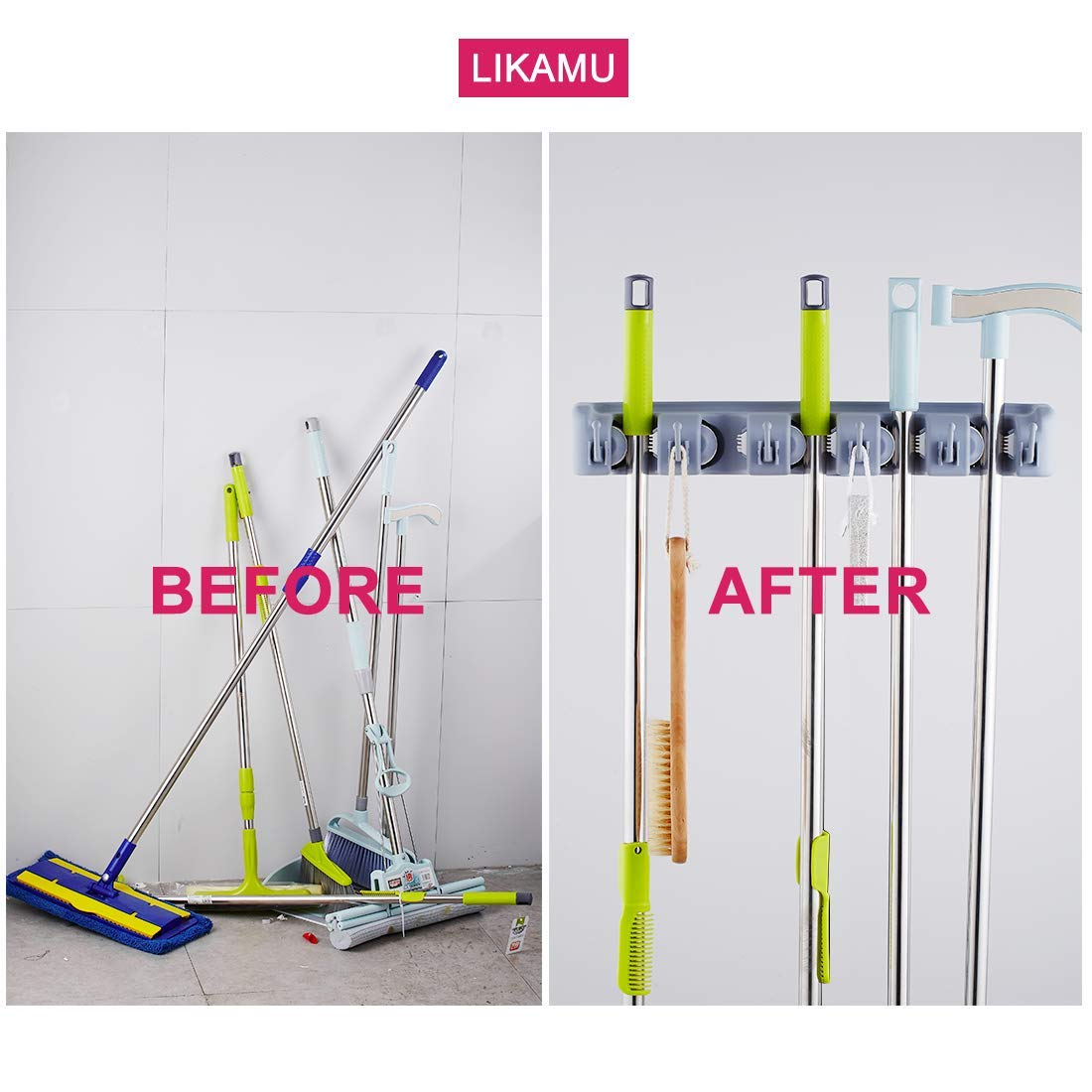 LIKAMU Mop Broom Holder Wall Mount, 5 Position with 6 Hooks, Storage Rack for Garden Kitchen Garage Laundry, Over The Door Wall Broom Organizer