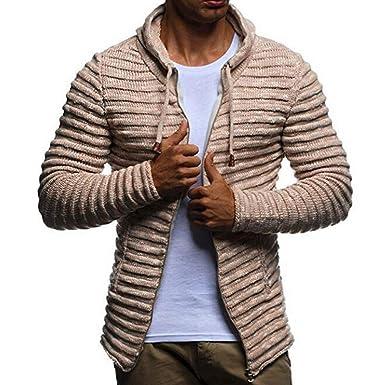 Chaqueta Cardigan Hombre, JiaMeng Abrigo de Rayas de Punto sólido de Invierno Chaqueta de Manga Larga Outwear para Hombre