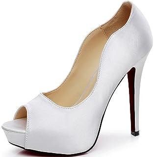 75d6c2002381 Littleboutique New Peep Toe Satin Wedding Platforms Stiletto Evening Shoes  Dress Pumps Bridal Shoes Heels