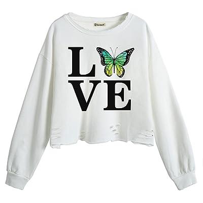 So'each Women's Love Butterfly Letters Crop Tops Hole Broken Pullover Sweatshirt