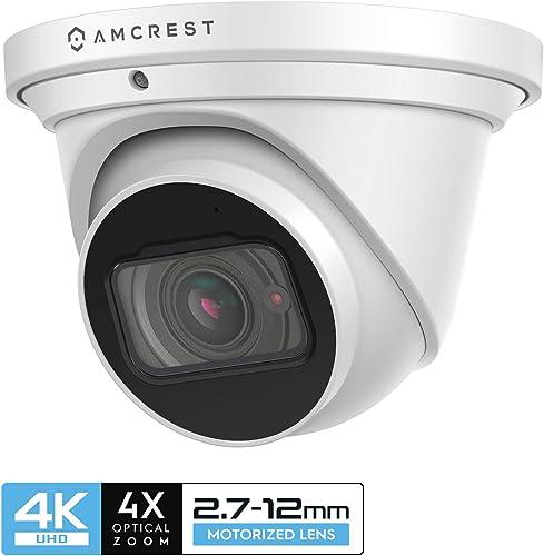 Amcrest 4K Optical Zoom IP Camera, Motorized Lens, 8MP Outdoor POE Camera Dome, 4X Optical Zoom Security Camera Turret, 2.7mm 12mm Lens, IP67 IK10 Vandal Resistant, Built-in Mic, IP8M-MT2544EW