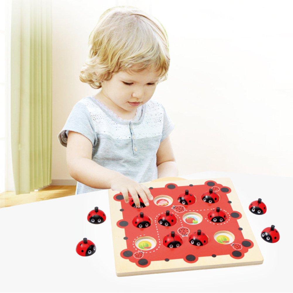 Ocamo Educational Toys Kids Wooden Cartoon Ladybug Design Kids Memory Training Game Chess Montessori Early Development Toys for Children