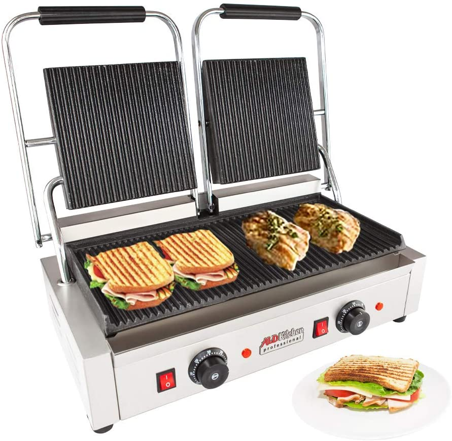 ALDKitchen Panini Sandwich Press Grill High-quality Durable Stainless Steel Construction with Adjustable Temperature Control Double head 9 x9 ribbed