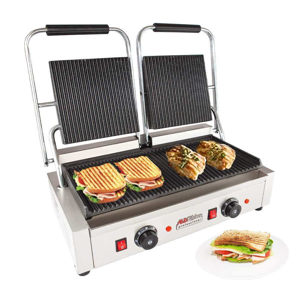 ALDKitchen Panini Sandwich Press Grill | High-quality Durable Stainless Steel Construction with Adjustable Temperature Control Double head 9'x9'' (ribbed) by ALDKitchen