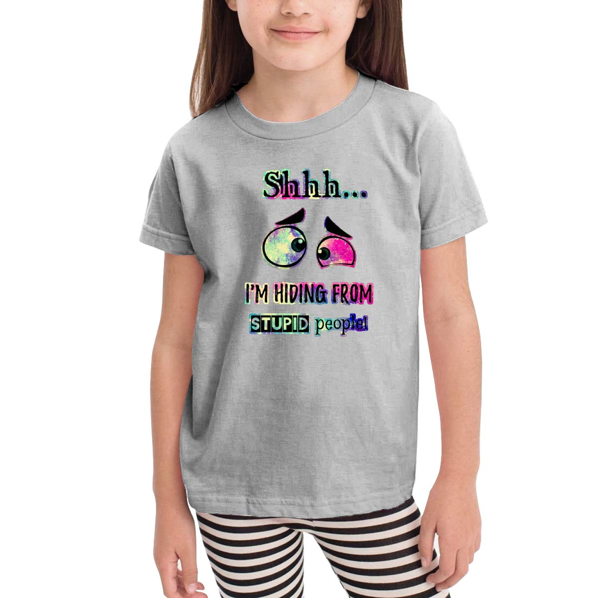 Toddler Boys Girls Kids Funny Graphic I Am Hiding from Stupid People White T Shirt Cotton Tee Summer Tops