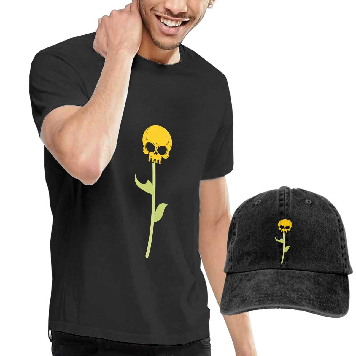 QqZXD Chamomile Skull Fashion Mens T-Shirt and Hats Youth /& Adult T-Shirts