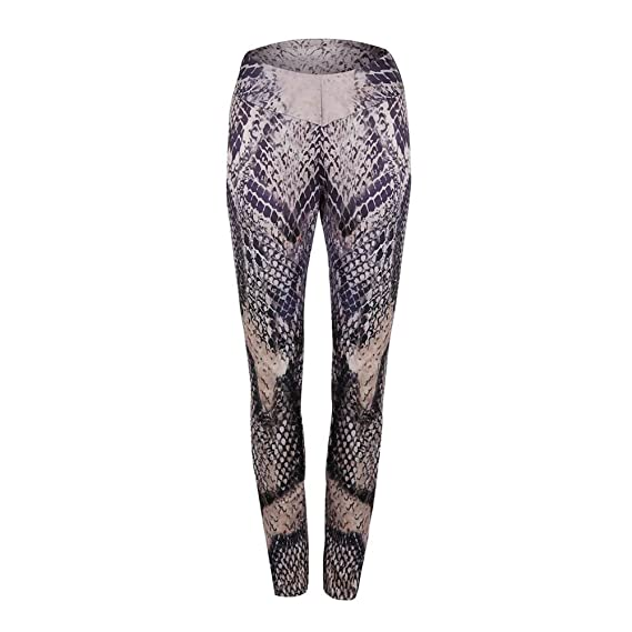 e440c3c81c459 Amazon.com: Womens Snakeskin Printing Compression Pants Baselayer Cool Dry  Tights Mid Waist Leggings Elastic Trousers: Clothing