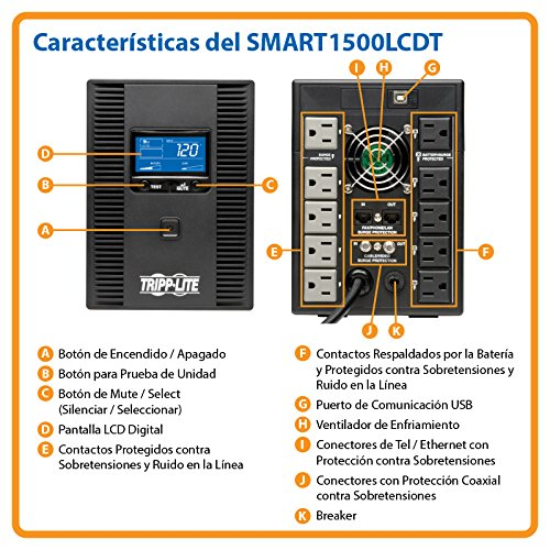 61LhllqxgeL - Tripp Lite 1500VA 900W UPS Battery Back Up, AVR, LCD Display, Line-Interactive, 10 Outlets, 120V, USB, Tel & Coax Protection (SMART1500LCDT)