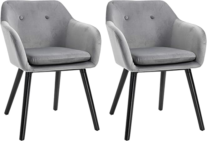 Homcom Modern Upholstered Fabric Bucket Seat Dining Arm Chairs Padded Set Of 2 Modern Style Dining Room Living Room Furniture Grey Amazon Co Uk Kitchen Home