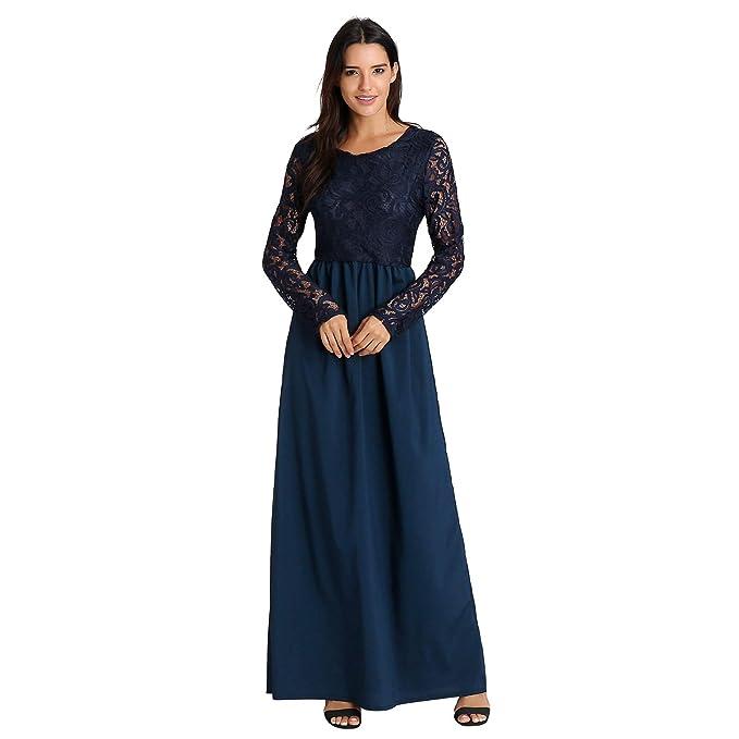7c53d9837 FRAUIT Vestido Formal Vestido de Trabajo Elegante Vestido de Fiesta con  Cuello Redondo y Manga Larga para Mujer Vestido Largo Ropa de Calle Vestidos  ...