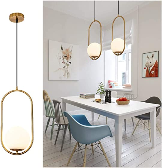 Pendant Lighting Modern Style Chandelier ,One Light Kitchen Lamp,Frosted Glass Globe Lampshade Pendant Light Indoor Hanging Light Fixture Adjustable Hanging Fixture
