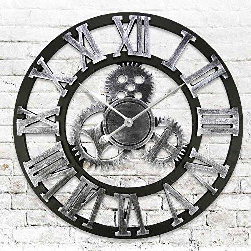 Y-Hui The Easy-To-Use Table Living Room Wall Clock Garden Clock Art Wall Clock Mute Quartz, 20 Inch, Silver Stereo Wall Clock Wg201-B