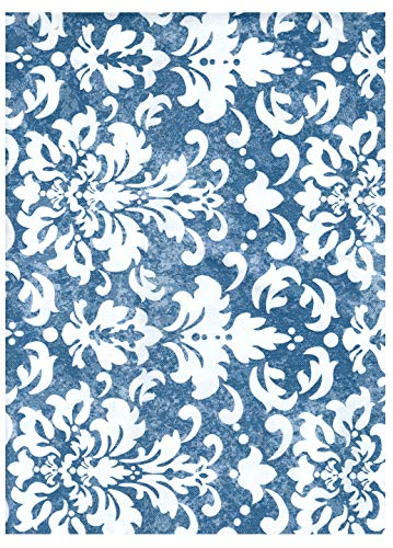 American Plastics Vinyl Tablecloth Flannel Backed Indoor Outdoor Table Cloth Fleur de lis Scroll Design, Blue and White | 52 x 70 Oblong for Rectangle Tables