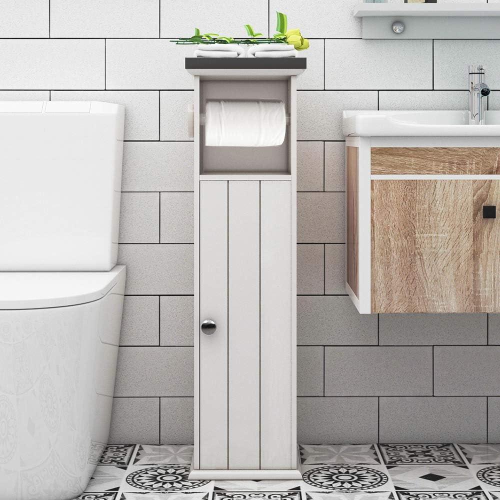 1*Paper Towel Storage Narrow Cabinet Small Bathroom Shelves Corner Floor Cabinet