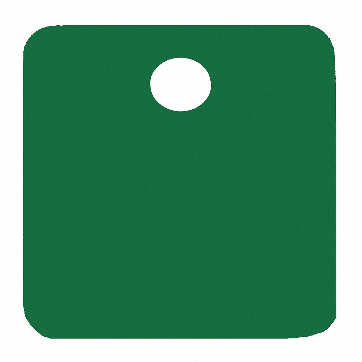 Green Blank Tag, Aluminum, Square, 1-1/4'' Height, 5 PK