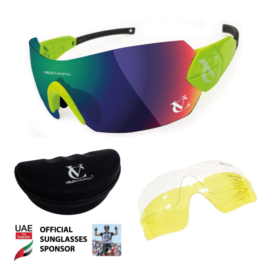 libre caso Gafas de sol VeloChampion Verde Hypersonic puente verde verde//amarillo//Clear Lens