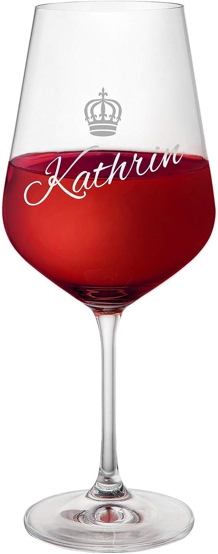 AMAVEL Copa de Vino Tinto – con Grabado – Personalizado con el [Nombre] – Corona – Reina – Regalo Original para cumpleaños, Día de la Madre o Navidad – Ideas para Mujeres