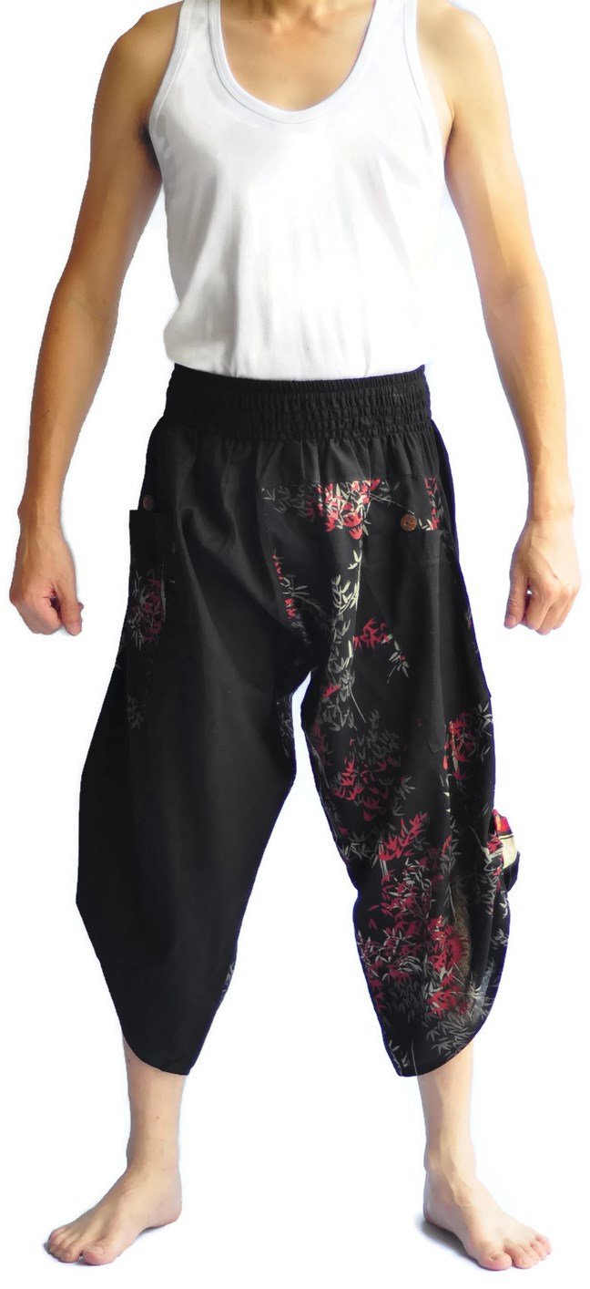 Siam Trendy Men's Japanese Style Pants One Size Two Tone bamboo design black