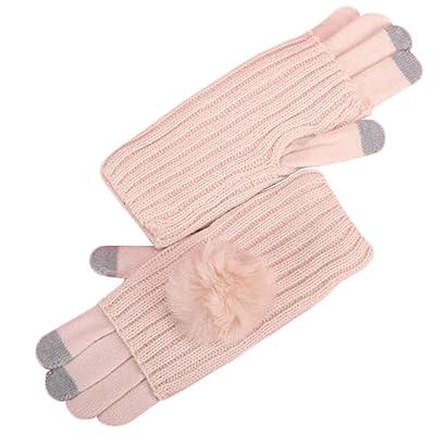 Épais tricot main chaude Mitten Conduite Gants écran tactile Gants-Rose