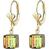 Swarovski Crystal Cube Drop Earrings for Women Leverback Dangle Earrings 14K Gold Plated Hypoallergenic Jewelry