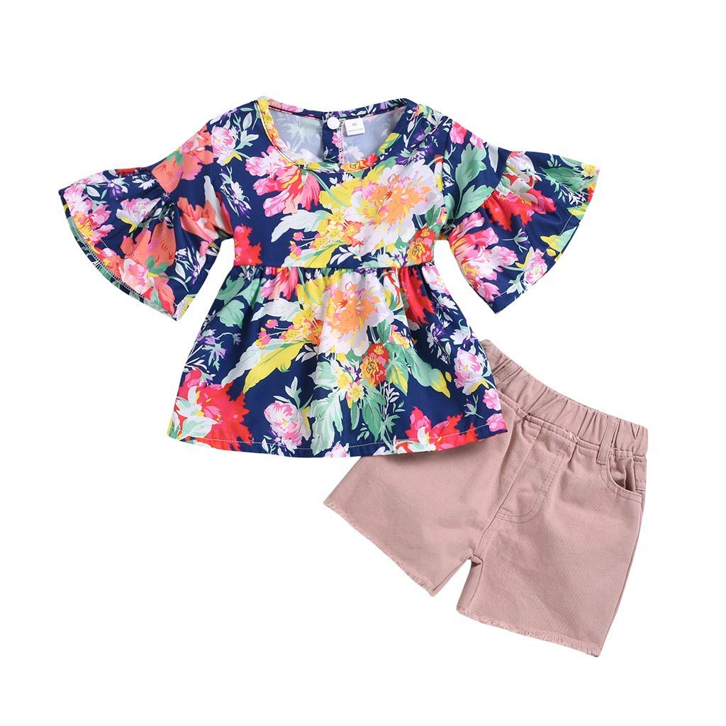 FEITONG Toddler Kids Baby Girls Ruched Floral Flowers Tops Solid Short Casual 2 Pcs Outfit Clothes Set
