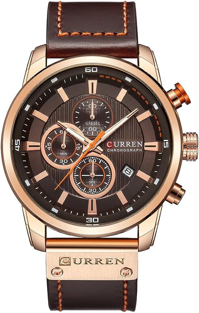 Curren - Reloj de pulsera analógico para hombre (movimiento de cuarzo, correa de piel sintética)