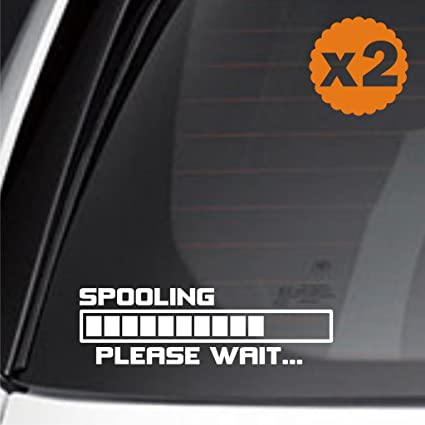 Amazon.com: (2x) spooling please wait loading turbo camaro hid turbo camaro jdm sticker decal euro mustang drift racing: Automotive