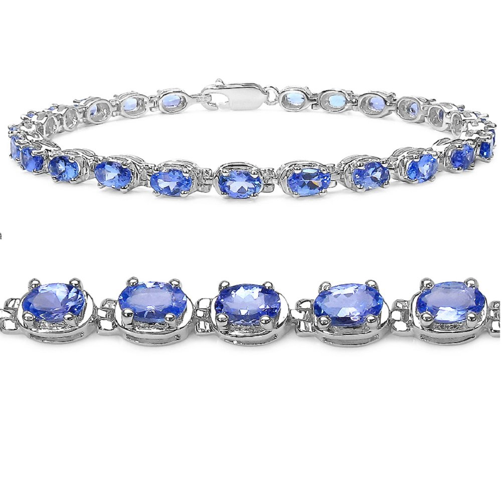 Tanzanite Tennis Bracelet Crafted in Sterling Silver(7 1/4 inch) by Amanda Rose Collection