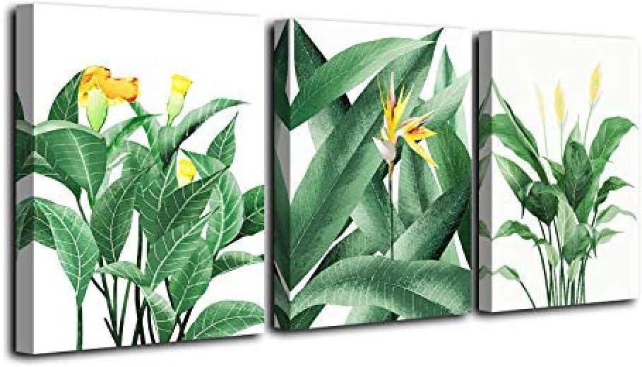 Lienzo Arte de la pared Hoja verde Flores Plantas Pinturas Cuadro en lienzo Cartel3 Piezas Enmarcado Listo para colgar Para la decoración del hogar Decoración de la pared 40 * 60Cm * 3