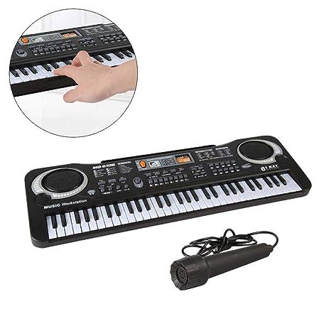 Teclado Instrumentos Musicales para niños. 61 Teclas para niños con Teclado de micrófono. Simulación