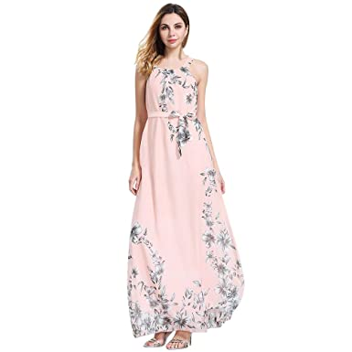 1a0b153fb8d5 Amazon.com: 〔Dimanul Dress〕Sexy Women's Summer Beach Floral Chiffon  Sleeveless Boho Dress Long Maxi Dress 2019 Elegant: Clothing