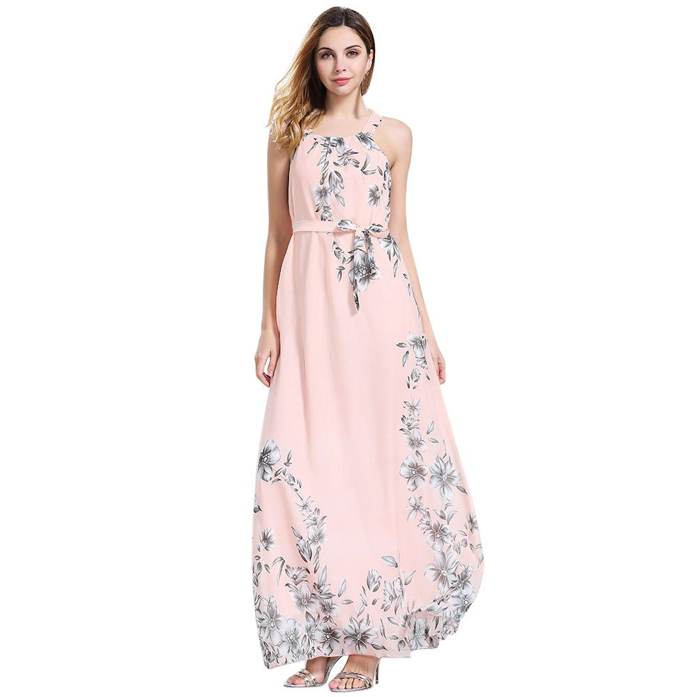 Clearance! Women's Dresses Sleeveless, Ladies Sexy Solid Floral Print Summer Long Maxi Chiffon Dress with Sashes