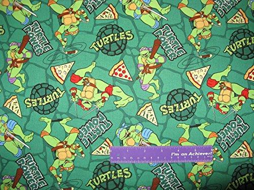 TMNT Teenage Mutant Ninja Turtles Power Pizza Cotton Fabric BY THE HALF YARD (Ninja Turtles Sensei)