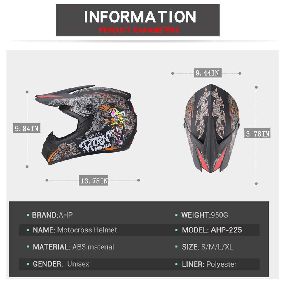 Outdoor-Jugend-Kinder-Dirt-Fahrradhelme Full Face Motocross Offroad-Rennsporthelm Motorrad-DH-Helm Handschuhe, Brille, Maske, 4-teiliger Satz