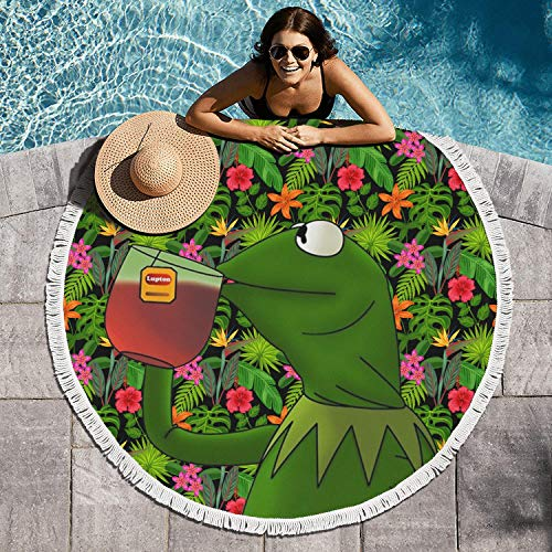 EDCPLM Women 60 Inchs in Diameter Soft Funny-Green-Frog-Sipping-Tea-Round Bath Beach Towel Blanket Picnic Mat - Puppet Soft Frog