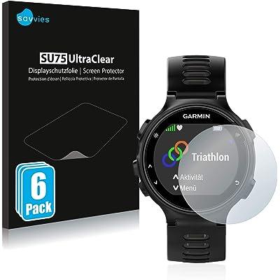 savvies Protector Pantalla Compatible con Garmin Forerunner 735XT (6 Unidades) Pelicula Ultra Transparente