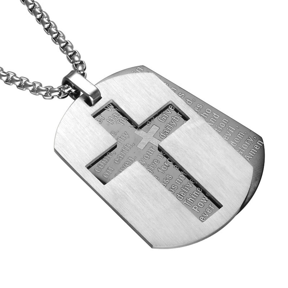 Silove Stainless Steel Necklaces for Men Women Bible Verse Lord's Prayer Dog Tag Cross Pendant Necklace (Silver Color)