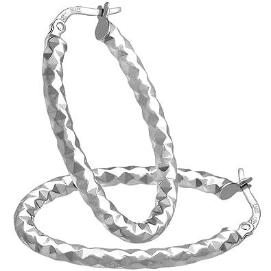 Citerna Diamond Cut Oval 9 ct White Gold Hoop Earrings mub7asy6uO