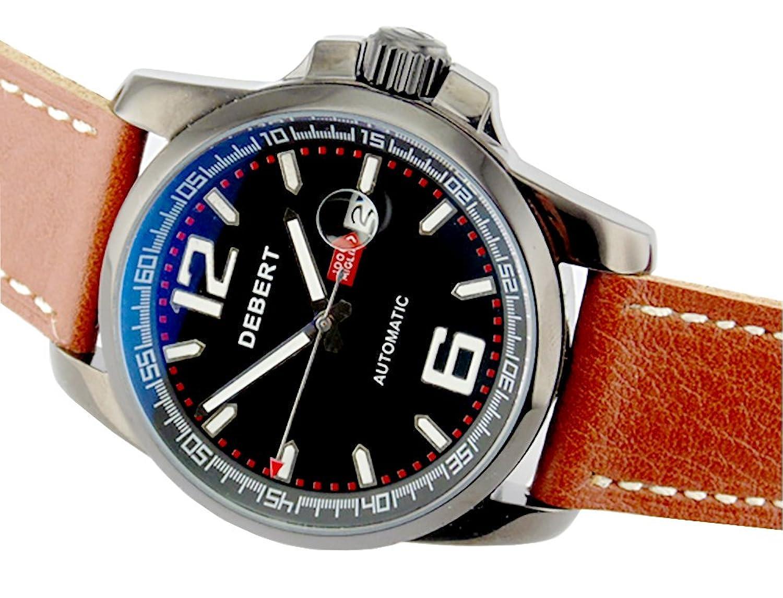 Debert 44 mm PVDブラックステンレス鋼ケースブラックダイヤル自動メンズ腕時計1496 B01KH3PFAY