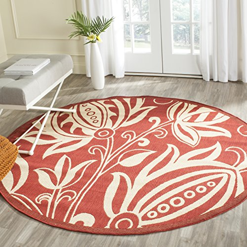 Duracord Outdoor Rug (Safavieh Courtyard Collection CY2961-3707 Red and Natural Indoor/ Outdoor Round Area Rug (6'7