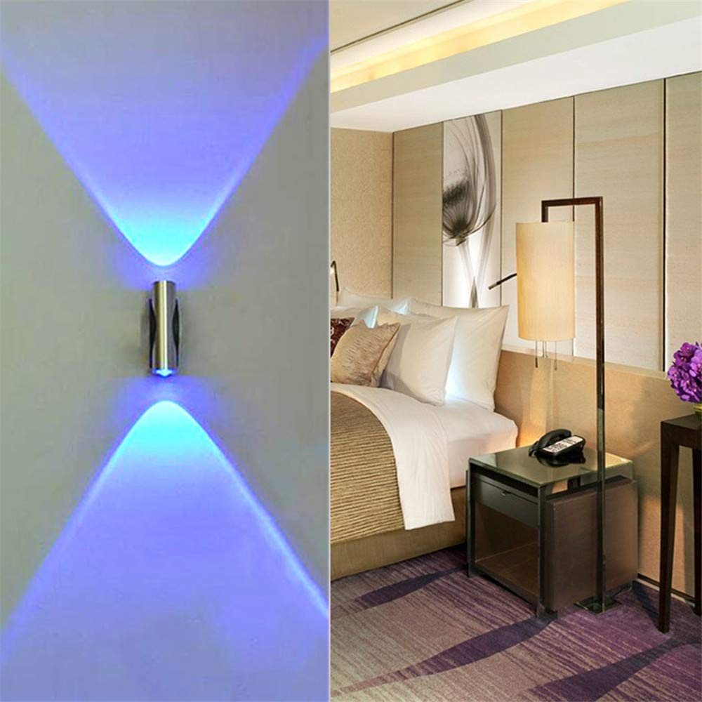 Blueseao Wall Light, Double-Headed Indoor Wall LED Wall Lamp Modern Home Sconce Bar Porch Wall Decor Ceiling Light Blue