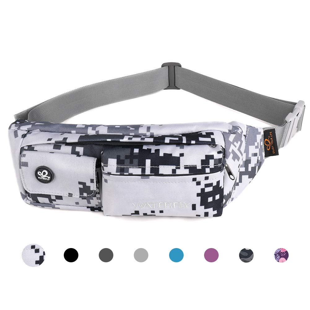 Waterfly Fanny Pack Slim Soft Polyester Water Resistant Waist Bag for Man Women Carrying iPhone Xs / 8 Plus Samsung S10 Plus/Note 8 (Grey Camouflage) by Waterfly