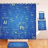Nalahome Bath Suit: Showercurtain Bathrug Bathtowel Handtowel Science Chemistry Tv Show Inspired Image with Periodic Element Table Image Print Art Blue and White