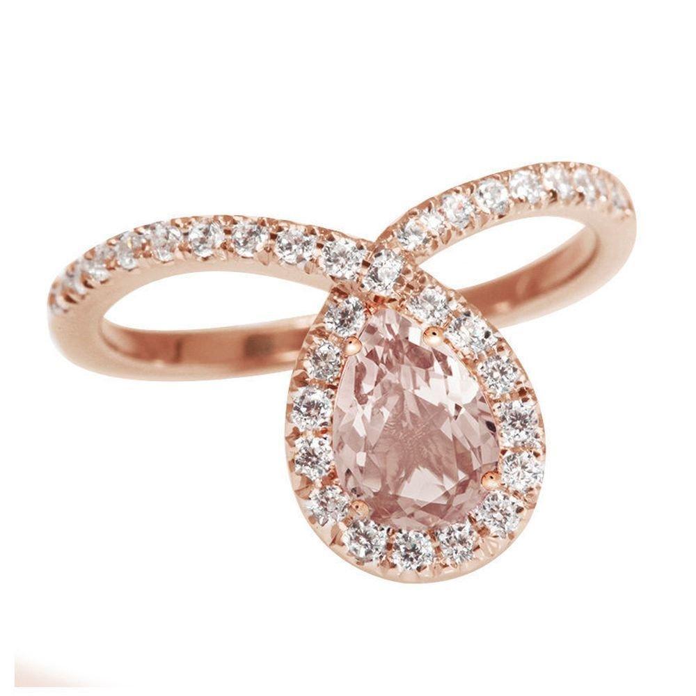 Amazon Com Rose Gold Morganite Engagement Ring Halo Ring Pear Shaped Ring Rose Gold Ring Art Deco Ring Unique Engagement Ring Handmade