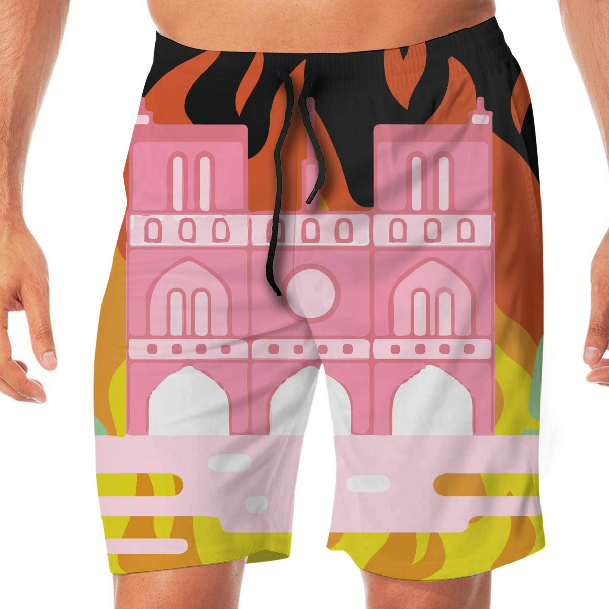Mens Swim Trunks Yearning Cathedral Notre Dame De Paris Fire 7 Casual Sport Beach Boardshort Adults Boys