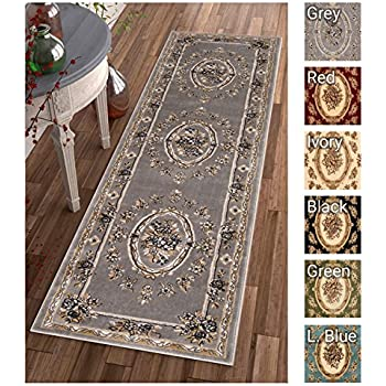 Pastoral Medallion Grey French Area Rug European Formal Traditional 3 X 12