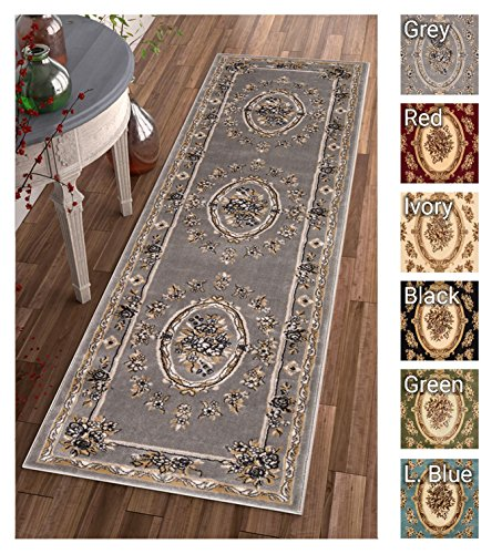 2'x7'7' Runner Area Rug (Pastoral Medallion Grey French Area Rug European Formal Traditional Area Rug 2' x 7' Runner Easy Clean Stain Fade Resistant Shed Free Classic Contemporary Thick Soft Plush Living Dining Room Rug)