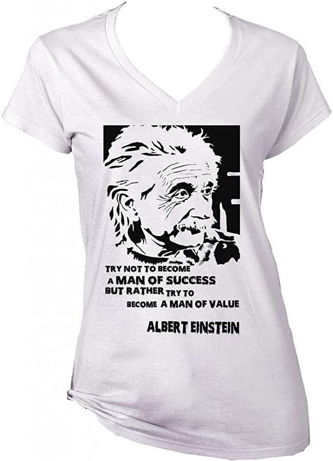 teesquare1st Albert Einstein Man of Value Quote Camiseta Blanca ...